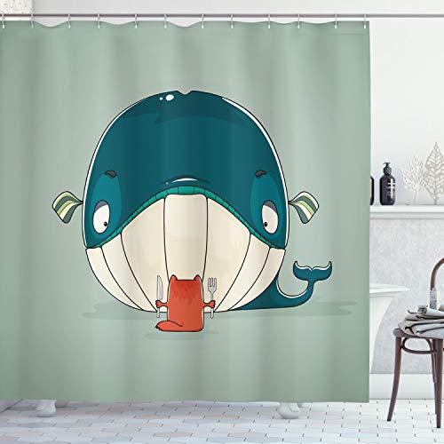 ABAKUHAUS Wal Duschvorhang, Kätzchen Essen Große Fische, Digital auf Stoff Bedruckt inkl.12 Haken Farbfest Wasser Bakterie Resistent, 175 x 180 cm, Mandelgrün Blaugrün