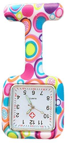 Boolavard TM Orologio da infermiere in silicone con spilla - orologio tascabile SQUARE Colourful Bubbles