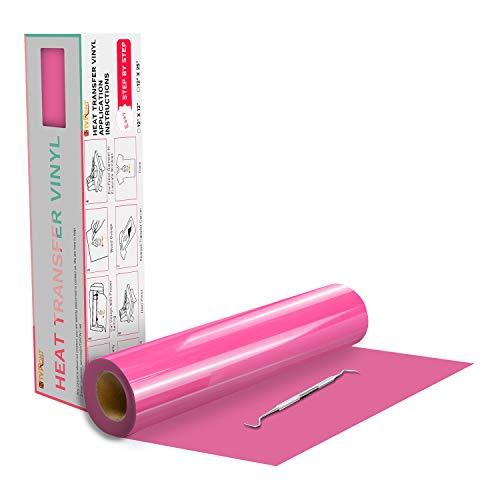 "HTVRONT HTV Vinyl Rolls Heat Transfer Vinyl - 12"" x 20ft Pink HTV Vinyl for Shirts, Iron on Vinyl for All Cutter Machine - Easy to Cut & Weed for Heat Vinyl Design (Pink)"