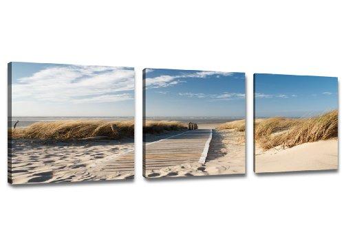 Visario 4221 Bilder auf Leinwand Bild 150 x 50 cm Strand Düne Nordsee - Ostsee drei Teile 50x50cm
