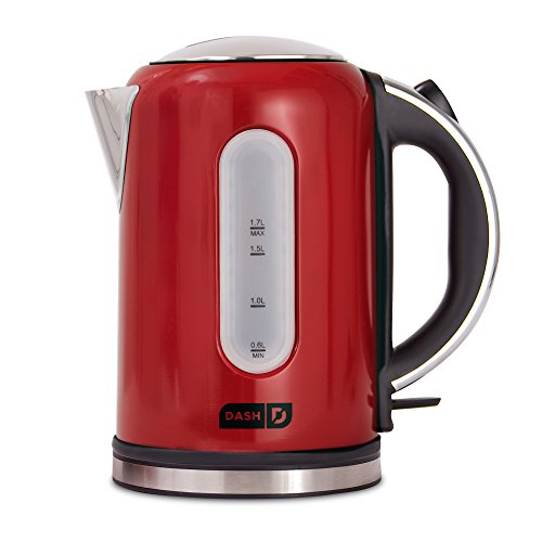 Dash DEK001RD Electric Kettle + Water Heater with Rapid Boil, Cool Touch Handle, Cordless Carafe, No Drip Spout + Auto Shut off for Coffee, Tea, Espresso & More, 57 oz / 1.7 L, Red