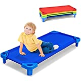 Costzon Kids Stackable Naptime Cot, Toddler Daycare Rest Mat w/Easy Lift Corner Detachable Oxford Cloth, Ready-to-Assemble, Space Saving, Children Preschool Sleeping Cot, Pack of 4 (Multicolor)