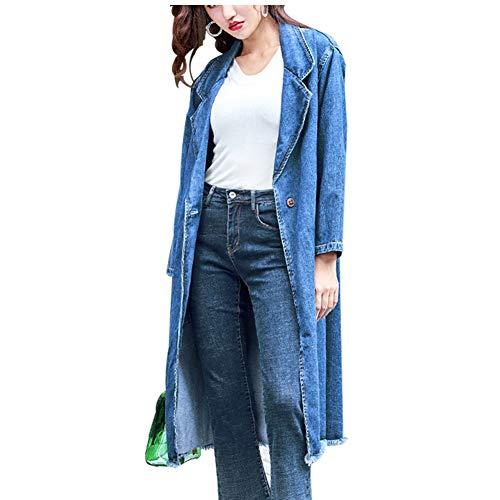 Chaqueta de Mezclilla_De Las Mujeres Chicas Nuevo Gabardina De Mezclilla Sobretodo Moda Suelto Chaqueta Jeans Oversize Cazadora Larga