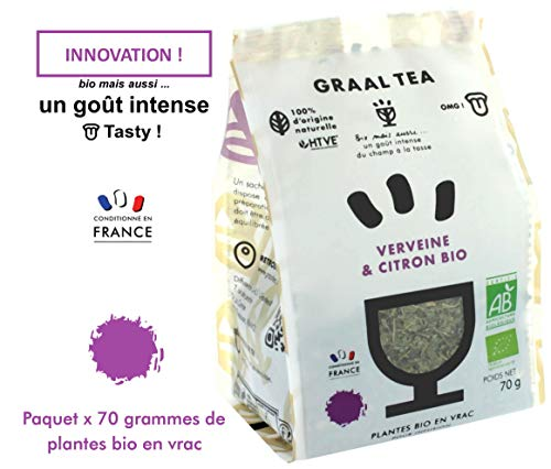 GRAALTEA VERVEINE & CITRON Bio / Plantes bio en vrac pour infusion / 1 paquet x 70 grammes