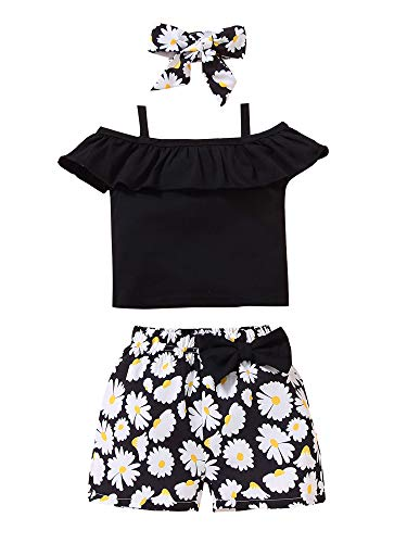 Qinghua Toddler Baby Girls Summer Clothes Set Off Shoulder Halter Top T-Shirts and Floral Shorts 3pcs Outfits (Black, 3-4T)