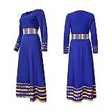 Without logo ZCPCS Malaysia Muslim Hijab Dress Dubai Abaya Turkish Pakistan Caftan Moroccan Kaftan Hijab Evening Dresses djelaba Islamic Clothing (Color : Blue, Size : Medium)