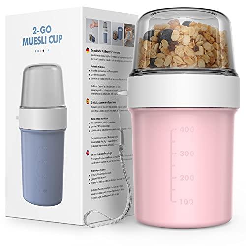 JIM'S STORE Taza para Cereales para Llevar sin BPA Vaso Portayogurt Práctico Apto para Fruta Yogur Nuez