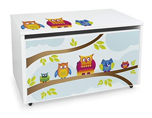 Leomark große Holzspielzeugkiste auf Rädern, Sitzbank mit Stauraum, Spielzeugkiste mit Deckel, XXL Kinderbank - Truhenbank für Kinder, weiße Aufbewahrungsbox 91L, Maße: 71cm x40,5cm x45cm (Eulen)