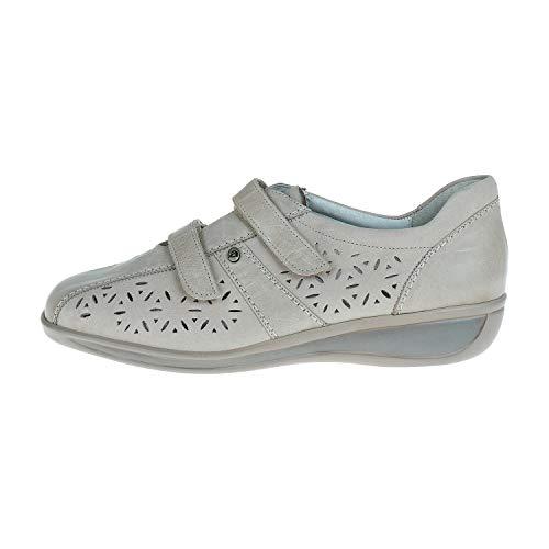 ARA Pantoufles à Velcro Taupe / Cemento Largeur H Taille 8,5