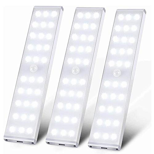 ICECON Luz Inalámbrica Debajo Armario, 30 Luces LED con Sensor Movimiento, Batería Recargable USB, Tira Luz Debajo Armario, Cocina, Luz Nocturna Armario Escaleras Pasillo Garaje (Paquete De 3)