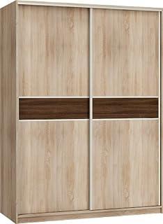 """Neuf, Moderne, Garde-Robe/Armoire 2 de porte coulissante """"PUERTO"""" Largeur: 160cm Hauteur: 216cm Profondeur: 65cm - Chêne S..."""