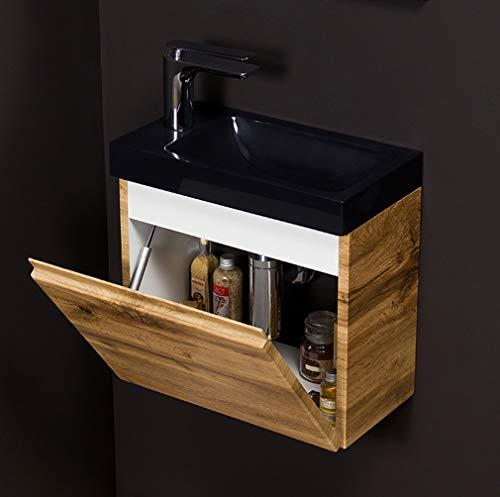 Quentis Badmöbel Gäste-WC Set Faros, Breite 40 cm, Waschbecken schwarz mit Unterschrank, Eiche Natur, Waschbeckenunterschrank montiert