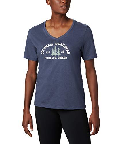 Columbia Mount Rose T-Shirt à Manches Courtes Femme, Nocturnal Heather, CSC Badge, XS
