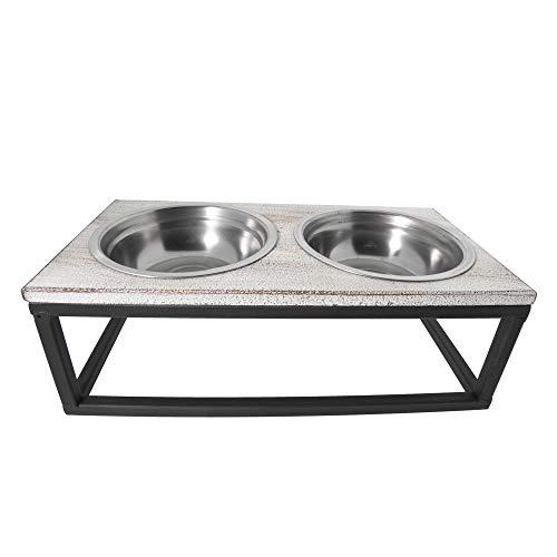 Clayre & Eef 6Y2800 Tiernapf Fressnapf Hundenapf Trinknapf Katze - Set Gusseisen Doppel-Napf Eisen (2 x 0,2 l) Ca. 30 x 15 x 10 cm