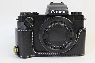 Canon キヤノン PEN G5 X カメラ バッグ カメラ ケース 本革、Koowl手作りトップクラスの牛革カメラハーフケース、Canon キヤノン PEN G5 X 一眼カメラケース、防水、防振、携帯型、透かし彫りベース+ハンドストラップ(カメラストラップ) (ブラック)