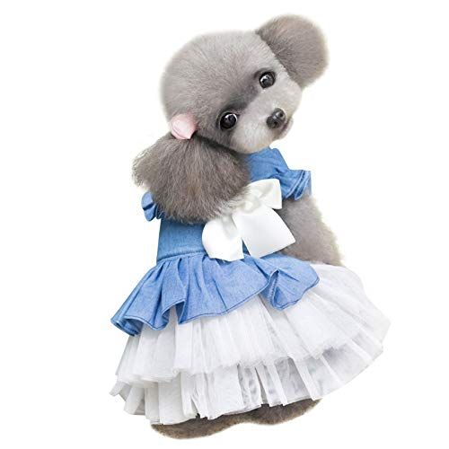 AOFITEE Tutu Dog Dress Pet Puppy Bowknot Princess Skirt  Spring Summer Denim Dog Vest Shirts Sundress  Sweet Wedding Party Dresses Pet Clothes Apparel for Small Dogs and Cats
