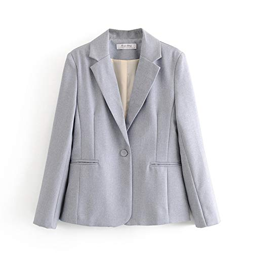 Casuales Mujeres Suaves Blazer Blazer Primavera-otoño Moda Moda de Manga Larga Jacket Trajes Casual Femenino Slim Coats Girls Chic (Color : Gris, Talla : Medium)