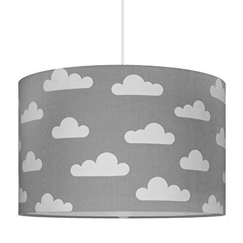 youngDECO Lampe für Baby- und Kinderzimmer, Wolke auf Pastellgrau, großer Lampenschirm 40x26cm, skandinavische Kinderzimmer-Deko für Mädchen & Junge, komplette Deckenlampe für Kinderzimmer