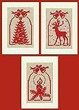 Vervaco - Set de Punto de Cruz con Motivos navideños (3 Piezas, 10,5 x 15 cm, 7 Puntadas por cm)