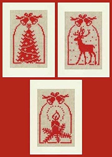 Vervaco REH, kaars, kerstboom, set van 3 wenskaarten om te borduren in kruissteek, katoen, meerkleurig, 10,5 x 15 x 0,3 cm, 3 stuks