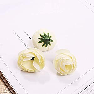 Silk Flower Arrangements Artificial and Dried Flower 20pcs/lot 2cm Colorful Camellia Flower Head Silk Artificial Flowers Decor for Home Garland Christmas Decorations Year - ( Color: Beige )