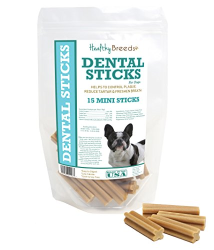 Healthy Breeds Dog Dental Care Sticks for French Bulldog - OVER 200 BREEDS - Easier Than Wipes Rinses Spray Toothbrush or Toothpaste - 15 Mini Sticks
