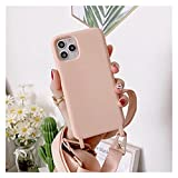 FYHCY YIZHAOYZ Crossbody Necklace Holder Phone Case for iPhone 11 Pro XS 12 Max XR X 6 6S 8 7 Plus SE 2 Lanyard Cord Strap Silicone Back Cover (Color : Pink, Size : for iPhone 11)