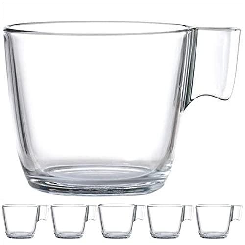 Pack de 6 Tazas de cafe IKEA STELNA 7 cm cristal transparente 23 cl