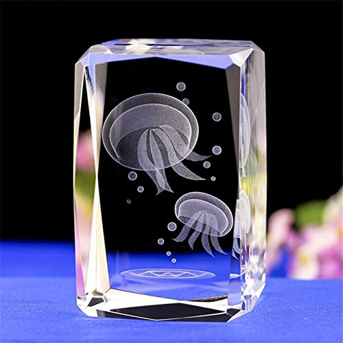 DFGDFG 3D Engraving Jellyfish Crystal Ornaments Home Decoration Crystal Ornaments Wedding Travel Commemorative Gifts (Color : Clear, Size : 50mmX50mmX80mm)