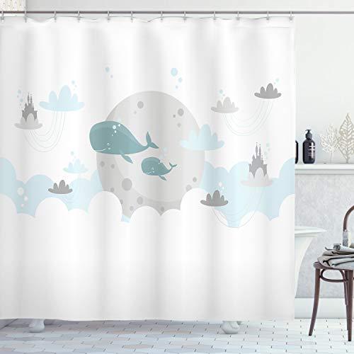 ABAKUHAUS skandinavisch Duschvorhang, Wale Mond Schlösser, mit 12 Ringe Set Wasserdicht Stielvoll Modern Farbfest & Schimmel Resistent, 175x180 cm, Hellgrau Hellblau Teal