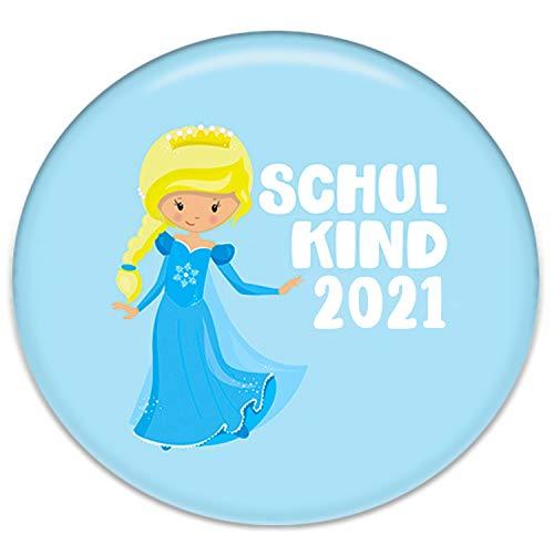Polarkind Button Pin Anstecker Eiskönigin Schulkind 2021 Geschenk zum Schulanfang für Schultüte Zuckertüte 38mm Handmade Mädchen