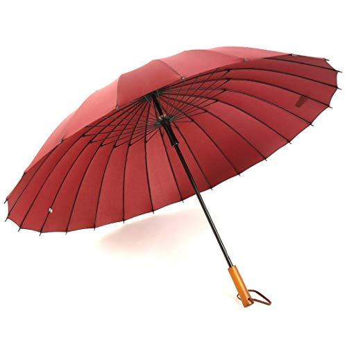 Karidesh Ombrello Dritto da Uomo in midollino da 24 Iarde Adulto Manico Dritto in Legno (Color : Red)