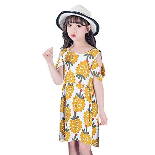 jerferr Baby Dirndl Kinder Kurzarm Sunflower Floral Princess Schulterfreies Kleid