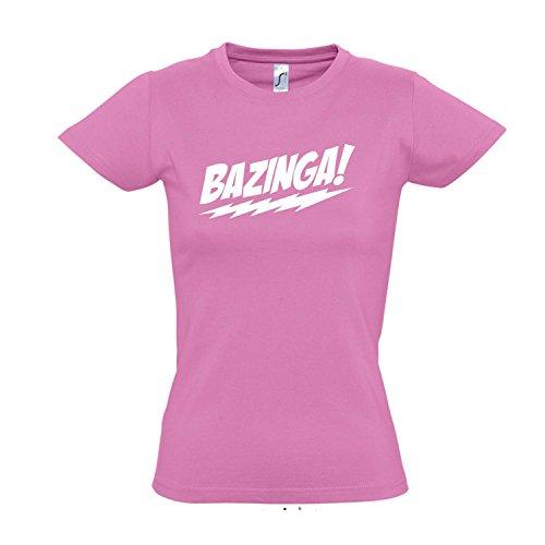 Damen T-Shirt - Bazinga, The Big Bang Theory - Fun Kult Shirt S-XXL, Orchid pink - weiß, M