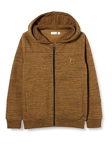 NAME IT Jungen NKMRASSE LS SWE Card WH UNB Sweatjacke, Braun (Toasted Coconut Toasted Coconut), (Herstellergröße: 116)