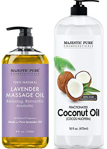 Majestic Pure Lavender Massage Oil 8 fl oz, and Fractionated Coconut Oil 16 fl oz Bundle