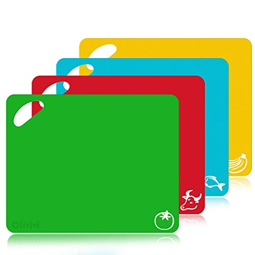 Extra Thick Flexible Plastic Kitchen Cutting Board Mats Set, Set of 4 Colored Chopping Board With Food Icons & Easy-Grip Handles By Olivivi