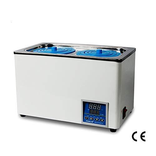 ETE ETMATE Digitales Thermostat-Wasserbad Laborwasserbad, Präzisions-Temperaturregelung Wasserbad Laborthermostat-Wasserbad mit Zeitfunktion RT bis 99 ℃ (Zweikammer, 220 V)