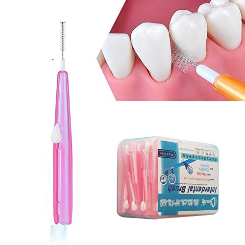 Ruier-hui Cepillos Interdentales Palillo Interdental(60 pcs) Palillos Dentales Palillo de Dientes Cepillo Dental Limpiardor de Dientas Hilo Interdental (Rosa)