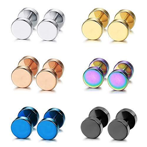 Aroncent Pendiente Acero Inoxidable Quirúrgico para Oído Dumbbells Aretes de Perno Forma de Pesas Chulo para Hombre Mujer Unisex, 8mm, 12PCS, Multicolor