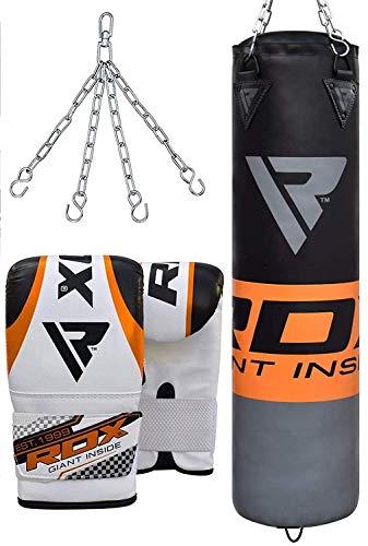 RDX Boxsack Set Gefüllt Kickboxen MMA Muay Thai Boxen mit Stahlkette Training Handschuhe Kampfsport Schwer Punchingsack 4FT 5FT Punching Bag (MEHRWEG)