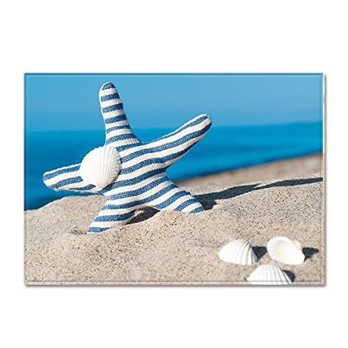 NTtie Interiores y Suaves Alfombras de Sala de Estar aptas para niños Patrón de Concha de Playa Adecuado para tapetes de Dormitorio.