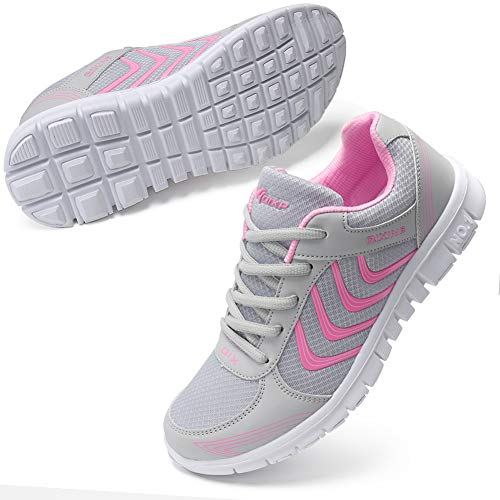DUOYANGJIASHA Women#039s Athletic Mesh Breathable Casual Sneakers Lace Up Running Comfort Sports Fashion Tennis Shoes Pink