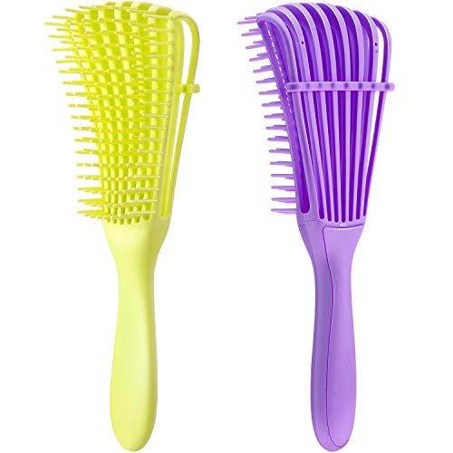 2 Pieces Detangling Brush for Afro America/ African Hair Textured 3a to 4c Kinky Wavy/ Curly/ Coily/ Wet/ Dry/ Oil/ Thick/ Long Hair, Knots Detangler Easy to Clean (Lemon Green, Purple)