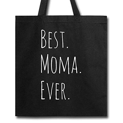 Best Moma Ever funny Mother's Day For Grandma Reusable Black Tote Bag Grocery Handbag for Shopping 100% Cotton