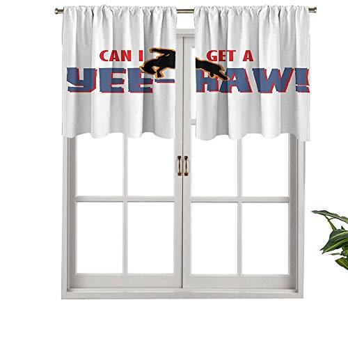 """Hiiiman Cenefas de cortina opacas con bolsillo para barra cortas, diseño de rodeo americano con texto en inglés """"Yee Haw Cowboy"""", juego de 2, 137 x 60 cm para cocina y baño"""