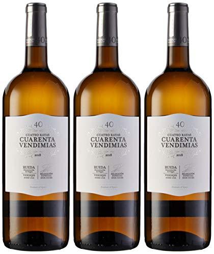 Cuatro Rayas Cuarenta Vendimias Verdejo Magnum - 3 Botellas de 1500 ml - Total: 4500 ml