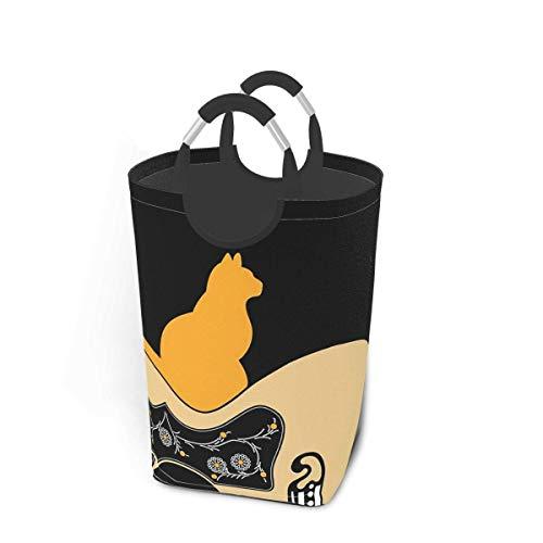 Cesta de lavandería para guitarra y gato con asas, cesta organizadora plegable grande, cesta de lavandería para habitación de niños