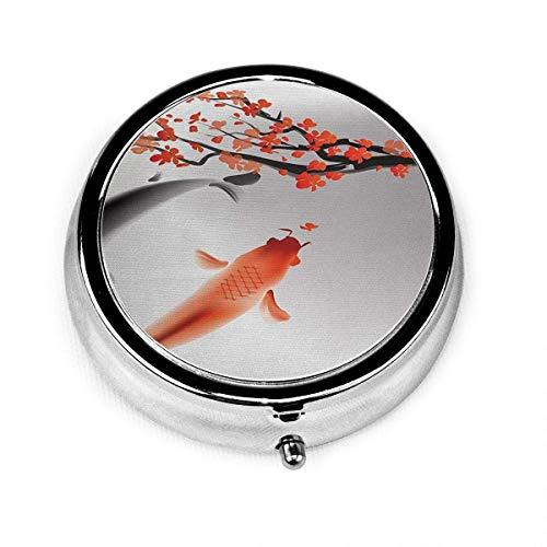 Pastillero redondo con 3 compartimentos pequeño pastillero portátil para monedero de bolsillo pareja de peces koi