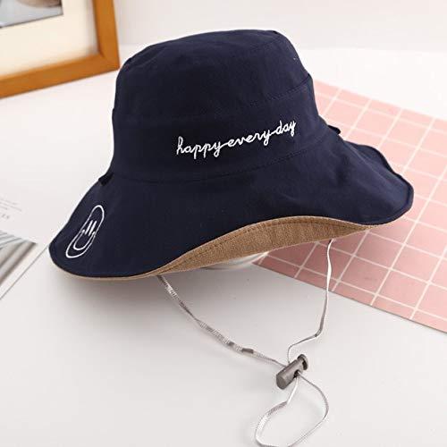 Sombrero de Pescador Sonriente para Mujer, versión Coreana de Verano de la Marea, Sombrero Anti-UV con Protector Solar de Doble Cara de otoño japonés